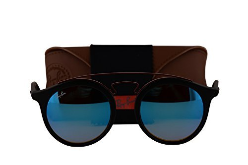 Ray-Ban RB4256 New Gatsby Large Sunglasses Matte Black w/Mirror Gradient Blue 6252B7 RB - Ban Sunglasses Closeout Ray