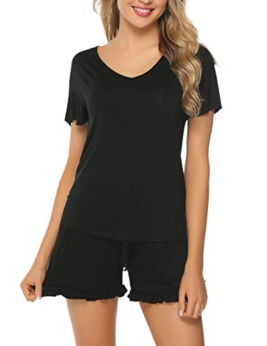 Hawiton Women's Pajama Top & Shorts Set Ruffle Short Sleeve V-Neck Sleepwear Lounge ()
