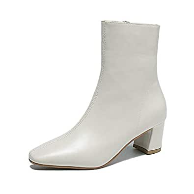 Amazon.com | Black White Platform Ankle Boots for Women