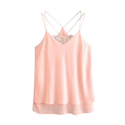 Londony Pink Top, Women's Summer Basic Sexy Ruffle Lace Sleeveless Racerback Crop Top (Pink ✤, L)