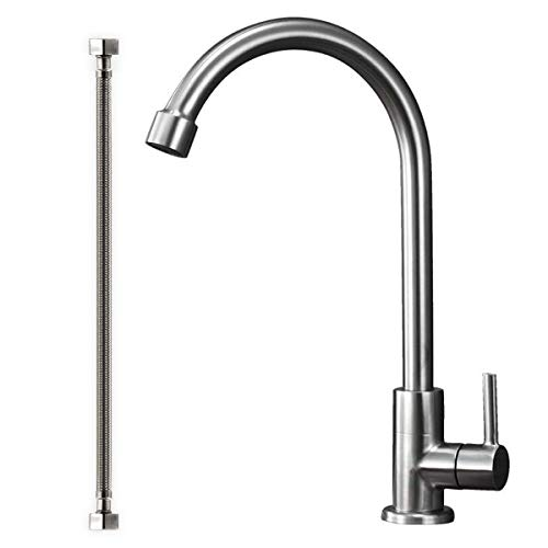Stainless Steel Cold Water Kitchen Sink Faucet Brushed Nickel Bathroom Single Handle Bar Faucet Faucet Single Temperature Water Only Silver Rotatable