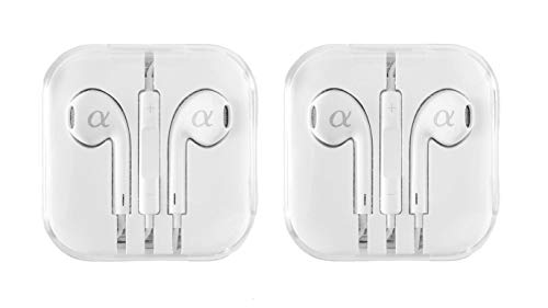 2 Pack Alphasonik Headphones, Earphones with Remote and Mic 3.5mm Earbuds Standard Retail Packaging Wired Ear Buds for Compatible Apple iPhone 6/6s 6 plus/6s Plus, iPad iPod, Samsung Galaxy Android