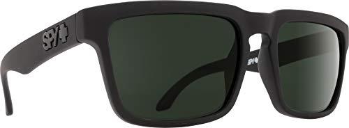 Spy Optic Helm Polarized Flat Sunglasses, Soft Matte Black/Happy Gray/Green Polar, 57 ()