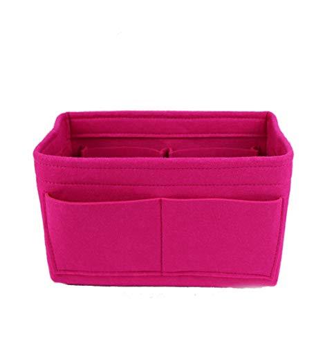 Felt Fabric Purse Handbag Organizer Bag Lmieson Multi Pocket Insert Bag Fit with Tote & Handbag, Speedy 35, Rosy Insert In Bag (Large)