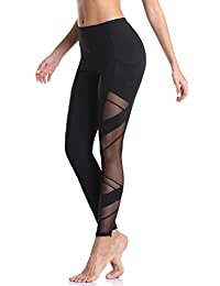 1050df0458 Derssity Mesh Yoga Pants for Women Workout High Waisted Leggings Gym  Running Tights