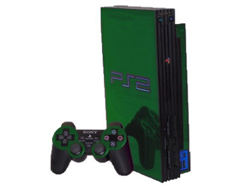 (Sony PlayStation 2 (PS2) Skin - NEW - GREEN CHROME MIRROR system skins faceplate decal mod )