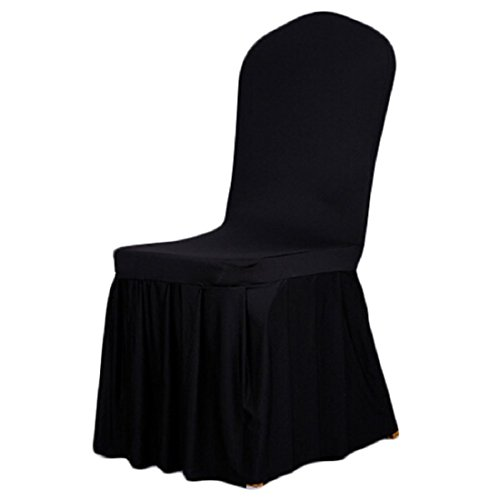 Long Stretch Spandex Dining Chair Cover Protectors, Super Fit Banquet Chair Seat Slipcovers for Hotel and Wedding Ceremony (Black)