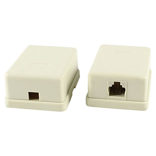 2 Pcs RJ11 6P4C Single Female Socket US Telephone Cable Connector Box -