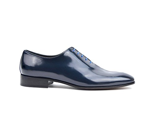 Onbekend Verdi - Blauwe Glimmende Leer Heren Oxford Gewoon Hun Eigen Aangepaste Luxe Marine Glanzend Leer Heren Oxford Vlakte Schoenen, 100% Met De Hand Gemaakt In Italië