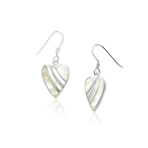 Big Apple Hoops - Genuine 925 Sterling Silver ''Fill My Heart'' Cute & Comfort Dangle Hook Earrings Dainty, Delicate and Perfect Design | in 4 Inlay Selection - Natural Rust Chandeliers Finish