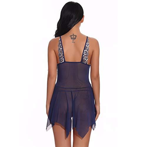 NOMENI Women Lingerie Babydoll Lace Chemise V Neck Front Closure Mesh Sleepwear Sexy Nightgowns Mini Teddy Navy
