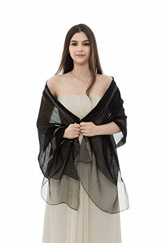 (REEMONDE Womens Pure Silk Scarf Long Large Lightweight Wraps Pashmina Shawl for Evening Dresses (Black))