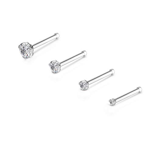 Injoy Jewelry 4pcs 20G Nose Studs Stainless Steel Clear White Cubic Zirconia Nose Bones Hypoallergenic Piercing Jewelry, Mixed Sizes