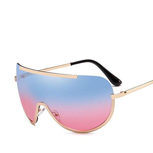 Aoligei Grosse boîte ronde visage lunettes de soleil mode tendances européennes et américaines métallique femelle-siamois mer film lunettes de soleil F