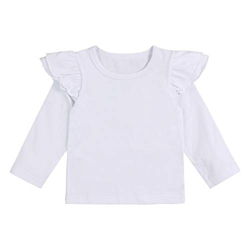 Infant Toddler Baby Girl Top Basic White Plain Ruffle Tee Long Sleeve T-Shirts Blouse Clothes ()