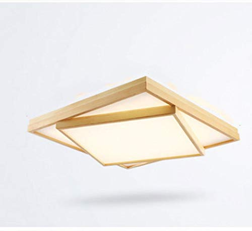LC_Kwn Led Solid Wood Ceiling Lamp Modern Minimalist Two-Tier, Three-Tier Creative Intelligent Dimming Nordic Wood Room Bedroom Lamp (Size : - Chandelier Shades 2 Tier Square
