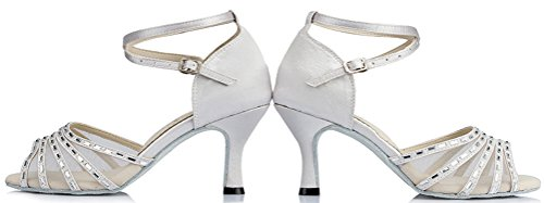Abby Femmes Confort Agréable Latin Moderne Tango Cha-cha Personnalisé Talon Peep-toe Satin Professionnel Danse-chaussures Blanc (3in)