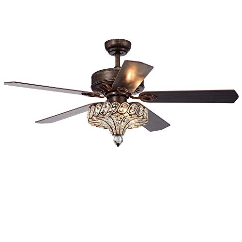 52'' Crystal Ceiling Fan With Lights and Remote 5 Wood Blades Reversible Brown For Livng Room Bedroom Decoration (Type 1)