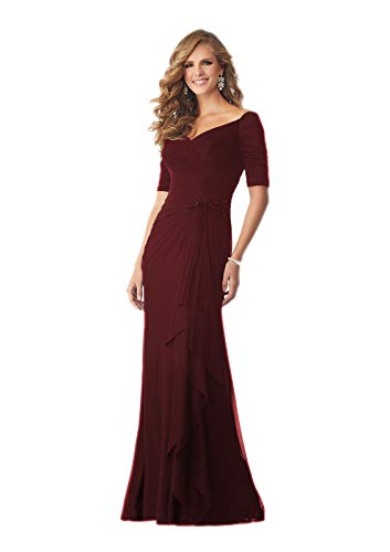 Women Off The Shoulder Ruffles Chiffon Dress Mother of The Bride Ruched Dresses Dark Red