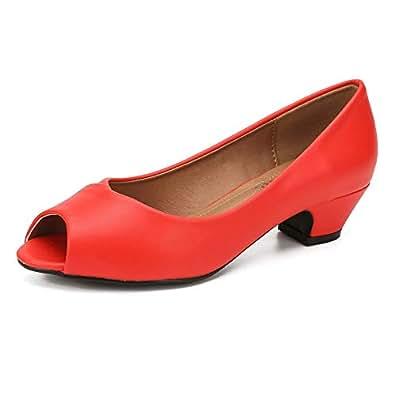 fereshte Women's Pumps Peep Toe Low Chunky Heel Shoes Matt Red 36-230mm - US 6