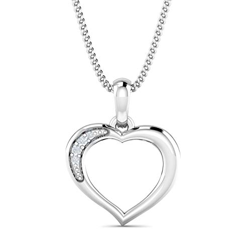 KuberBox 1/50 Carat Natural Diamonds (I-J Color, I1 Clarity) 10K Solid White Gold Heart Shaped Necklace Rhodium Plated with 18 Inch 925 Sterling Silver Curb Chain For Valentine's Day