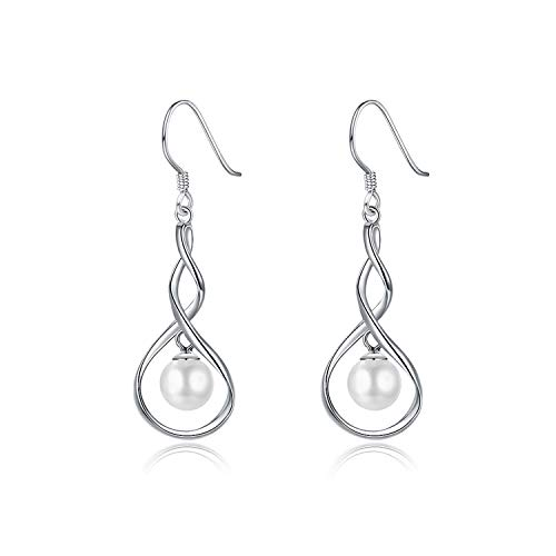 - Lucky air Fashion 100% 925 Sterling Silver Drop Earrings Girls Women Round Pearl Simple Earrings Jewelry Best Gifts For Office,Silver