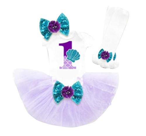 LSOOCWRL Baby Girls 1st Birthday Outfit One Mermaid Romper Top Sequin Bowknot Tutu Princess Tutu Skirt (Purple+White, 12-18 Months)]()