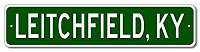 Custom Aluminum Sign LEITCHFIELD, KENTUCKY US City and State Name Sign