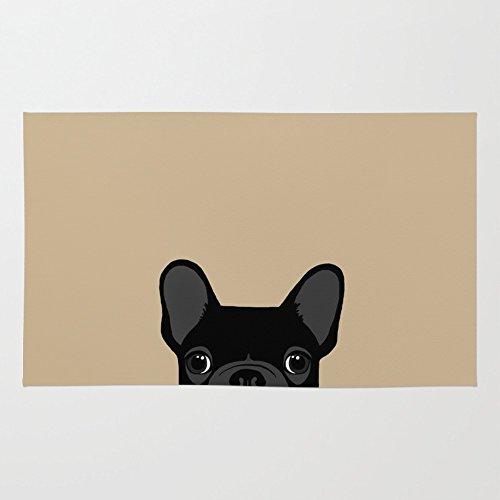 3' X 5 Bulldog (Society6 French Bulldog - Black On Tan Rug 3' x 5')
