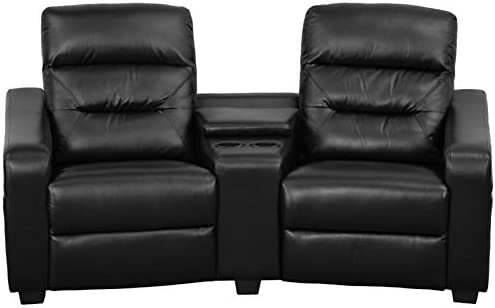 Pemberly Row 2 Seat Leather Reclining Home Theater Seating with Pillow Back, Storage Console and Cup Holder in Black