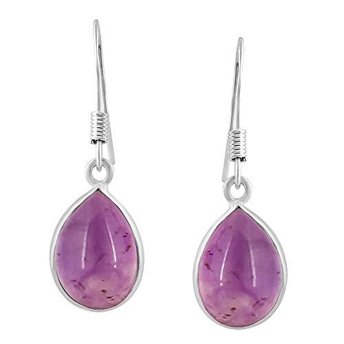 Amethyst Tear Drop Dangle Earrings 925 Silver Plated Handmade Jewelry For Women Girls