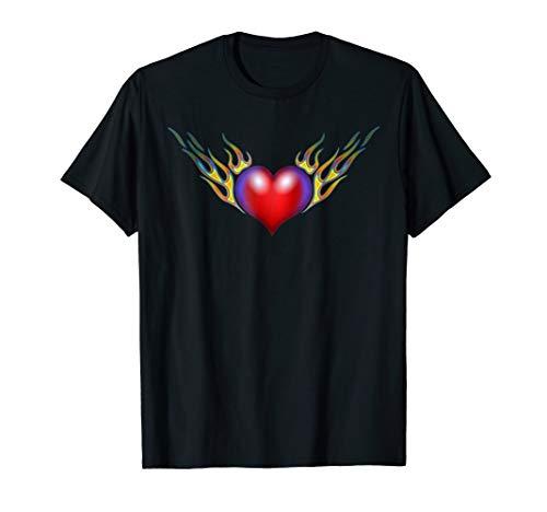 Flaming Heart Tattoo - Flaming Heart Tattoo Style Tshirt