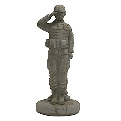Solid Rock Stoneworks Saluting Combat Soldier Stone Military Statue 24in Tall : Garden & Outdoor