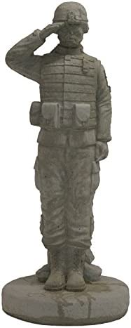 Solid Rock Stoneworks Saluting Combat Soldier Stone Military Statue 24in Tall