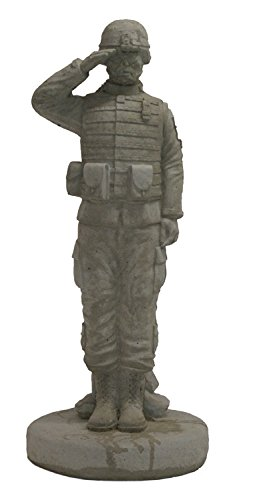 (Solid Rock Stoneworks Saluting Combat Soldier Stone Military Statue 24in Tall)