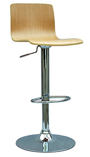 Chintaly Imports 0353 Bent Wood Pneumatic Gas Lift Adjustable Height Swivel Stool, White Oak/Chrome -