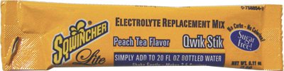 Sqwincher(R) .11 Ounce Qwik Stik Powder Concentrate Peach Lite Electrolyte Drink - Yields 20 Ounces