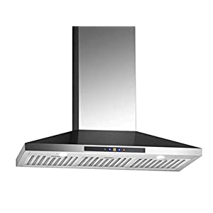 Ancona Chef WPC436 Wall-Mounted Pyramid Style Convertible Range Hood, 36-Inch, Stainless Steel