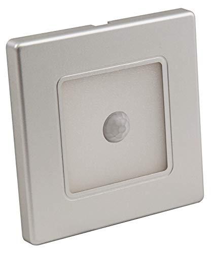 McShine - LED Wand-Einbauleuchte Lampe | LWE-86SB | 2W, 100 lm, Bewegungsmelder, warmweiß, silberner Rahmen