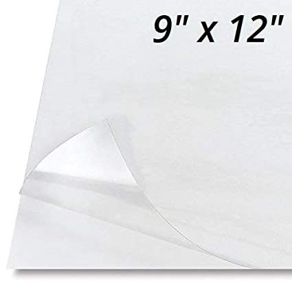"""10 Pack - Adhesive Backed Glossy Stencil Sheets, Transparent Clear Plastic  Film Sticky Back Self-Stick, Great Stencils for Painting, 9"""" x 12"""""""
