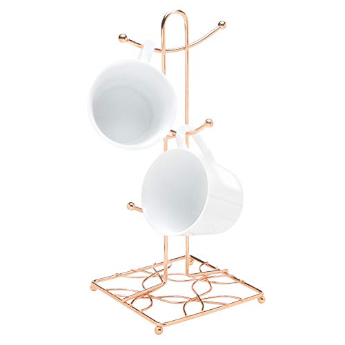 MADISON LIFESTYLE NY Bright Copper Mug Rack - Rose Gold Kitchen Countertop Accessory Cup Holder Hooks - 6