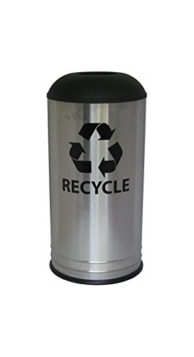 Ex-Cell Kaiser RC-1531 D-6 SS HGX Stainless Steel Cafe Style Indoor Recycling Receptacle with Hunter Green Textured Domed Top, 18 Gallon Capacity, 15'' Diameter x 31'' Height by Ex-Cell Kaiser