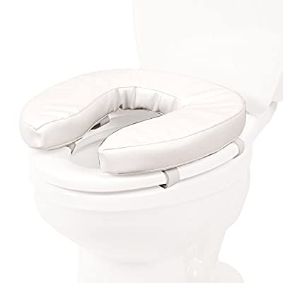 """PCP Raised Toilet Seat Cushion, 2"""" High Padded Comfort Support, Universal Fit, Portable with Removable Fastening Straps"""