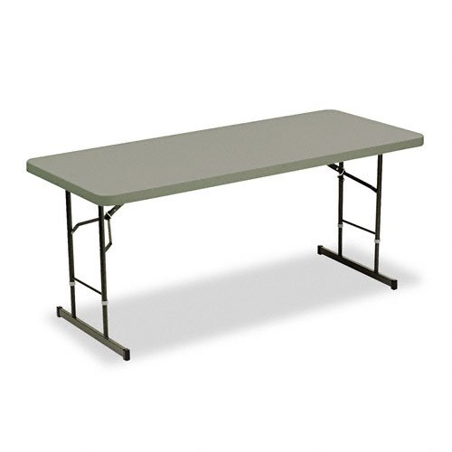 Iceberg 65627 72 by 30 by 25-29-Inch Adjustable-Height Folding Table, Charcoal