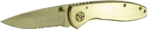 Smith and Wesson CK110GLS Executive Knife with  Coated Partially Serrated Drop Point Blade, Gold, Outdoor Stuffs