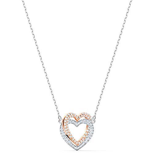 Swarovski Women's Infinity Heart Bangle Bracelet & Necklace Rose-Gold Tone Finish Crystal Jewelry Collection