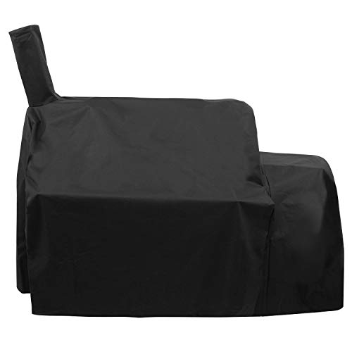 SunPatio Outdoor Grill Cover for Oklahoma Joe's Highland Smoker and More Grills, Heavy Duty Waterproof Combo Smoker and Charcoal Grill Cover, All Weather Protection, Black