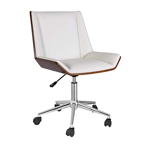 Porthos Home KCH033A WHT Office Chair with PVC Upholstery 360-Degree Swivel and Adjustable Height (Mid-Century Style in Black Or White), One Size