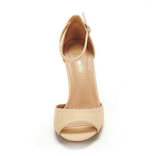 Dröm Par Kvinnor Eileena Mode Stilettos Peep Toe Pump Krängt Sandaler Naken Nubuck