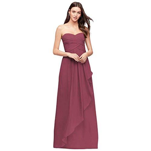 (Strapless Crinkle Chiffon Bridesmaid Dress with Cascade Skirt Style,6,Chianti)